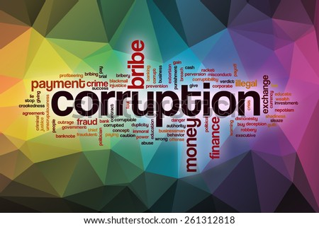 Corruption word cloud concept with abstract background - stock photo