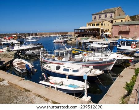 Corse - Corsica, France - september 2, 2014: Image of Cap Corse, the mediterranean coast. Port of Centuri. - stock photo