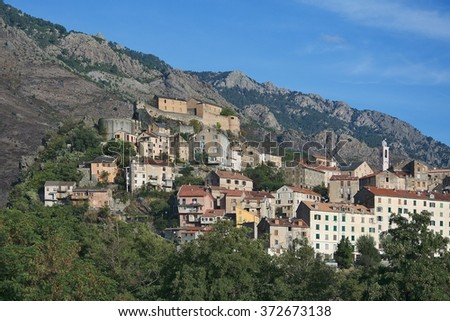 Corsica-a view of the citadel in Corte