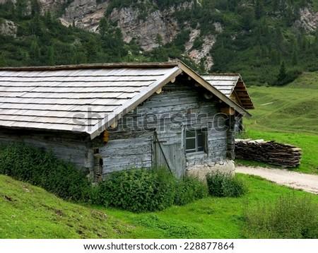 Cortina d'Ampezzo cottage cabin nature mountain Alps, Italy. - stock photo