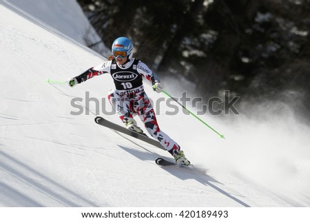 Cortina d Ampezzo, Italy 24 January 2016. GOERGL Elisabeth (Aut) competing in the Audi Fis Alpine Skiing World Cup Women Super G on the Olympia Course in the dolomite mountain range.