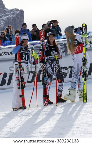 Cortina d'??Ampezzo, Italy24 January2016. VONN Lindsey(Usa) winner, 2nd WEIRATHER Tina (Lie) and REBENSBURG Viktoria (Ger) 3rd in the Audi Fis Alpine Ski World Cup Women's Super G.