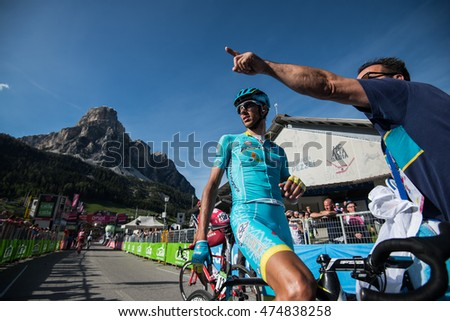 Corvara, Italy May 21, 2016; Professional cyclist Astana after  the finish of the queen stage of the Tour of Italy 2016 with arrival in Corvara.