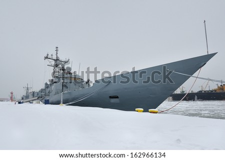 Corvette Battleship, in the winter port, front view, Baltic Sea - stock photo