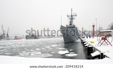 Corvette warship, in the winter port, front view, Baltic Sea - stock photo