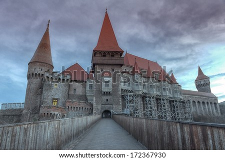 Corvin Castle, also known as Corvins' Castle, Hunyad Castle or Hunedoara Castle is a Gothic-Renaissance castle in Hunedoara, in the region of Transylvania, Romania. - stock photo