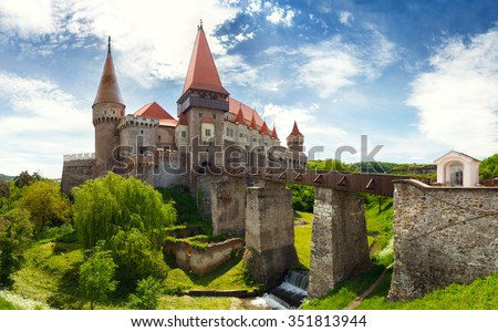 Corvin Castle in Hunedoara, Romania - stock photo