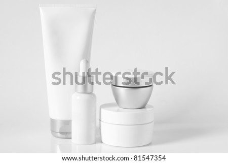 Cosmetic antiaging line on light background. High key. - stock photo
