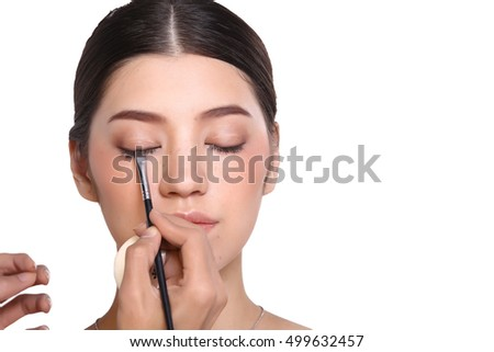 Cosmetic, Applying Make up, Beauty Process, white studio background, Perfect Healthy Skin, Base foundation bottle tube