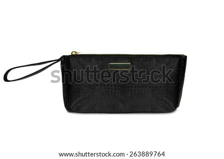 cosmetic bag clutch black - stock photo