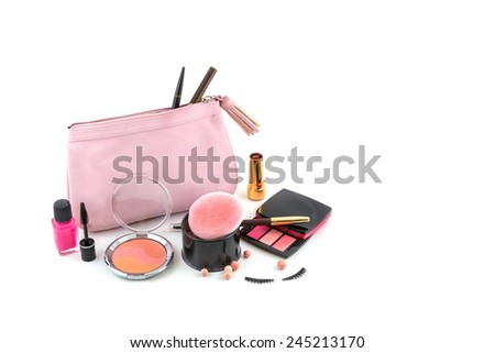 Cosmetic bag isolated on white background - stock photo