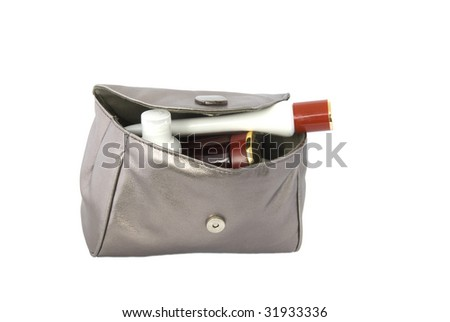 cosmetic bag isolated over white