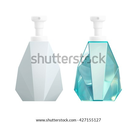 Cosmetic blank packaging glass bottle product, on white background isolated. Packshot design for base model and realistic material model of 3d Rendering