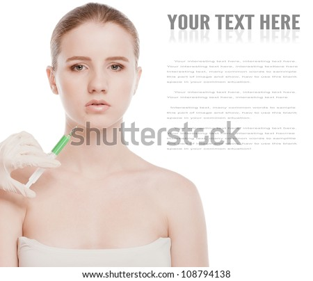 Cosmetic botox injection in the female face. Lips zone. Isolated on white - stock photo