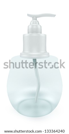 cosmetic bottle of liquid soap with dispenser. Isolated on white background
