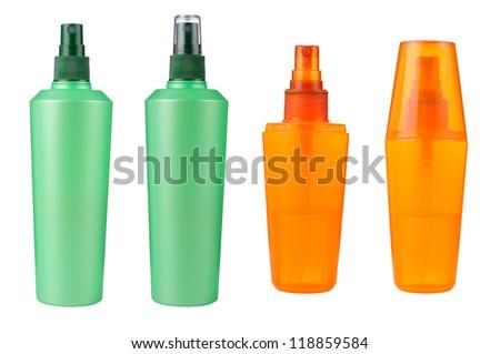 cosmetic bottles isolated - stock photo