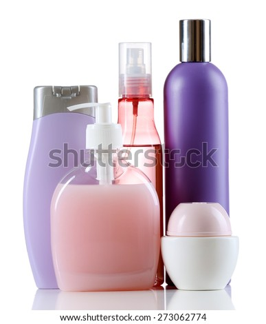 Cosmetic bottles isolated on white background - stock photo