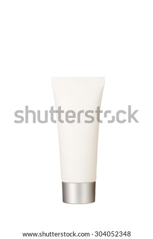 Cosmetic bottles on a white background - stock photo