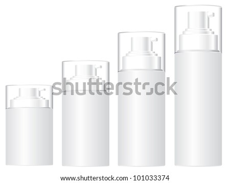cosmetic bottles with white background - stock photo