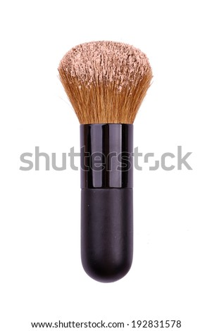 Cosmetic brush with face powder isolated on white background - stock photo