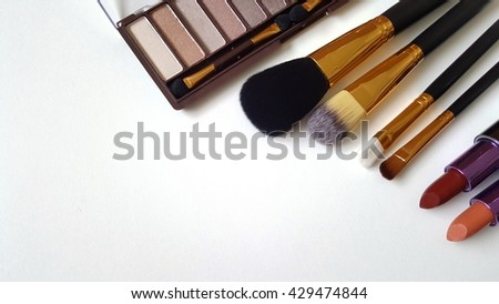 Cosmetic bush set for makeup  on white background.