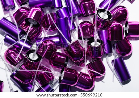 Cosmetic cap, production bottles, set, cosmetics, packaging, lilac, purple, spray