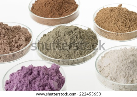 cosmetic clay/: yellow, purple, pink, red, white, green for Spa and body care - stock photo