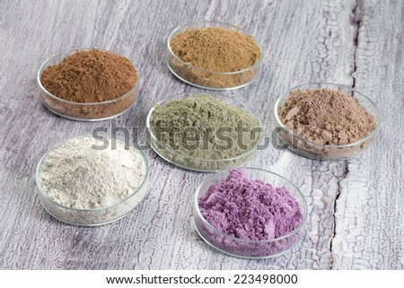 cosmetic clay :  yellow, purple, pink, red, white, green for Spa and body-care - stock photo