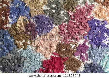 Cosmetic colors. Eyeshadow, powder, blush-on