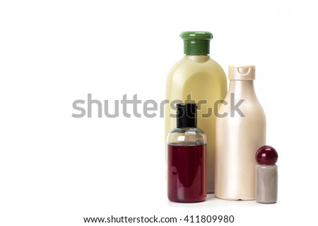 Cosmetic containers isolated on white - stock photo