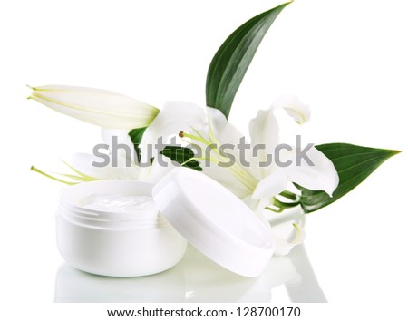Cosmetic cream and beautiful lily, isolated on white - stock photo