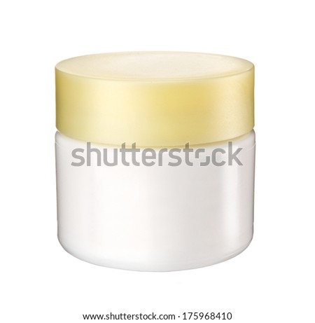 Cosmetic cream container / studio photography of white plastic container with cream cap - isolated on white background