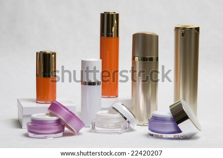 Cosmetic cream containers - stock photo