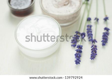 cosmetic cream, lavenders - stock photo