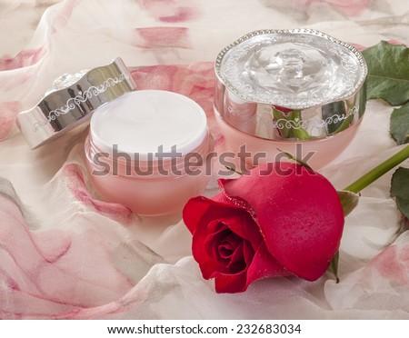 Cosmetic cream rose - stock photo