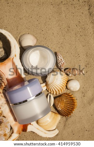 Cosmetic cream with marine components. Organic cosmetics. Spa.