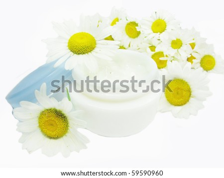 cosmetic creme for face health-care with daisy extract - stock photo