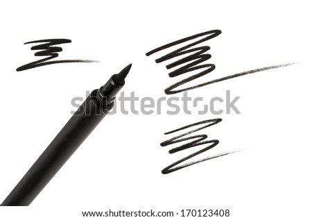 Cosmetic eyeliner with sample strokes isolated on white. - stock photo