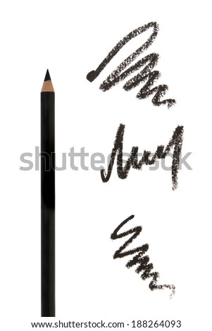 Cosmetic eyeliners with strokes on white background