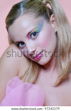 Cosmetic mackup, in pink background