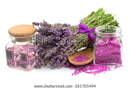 Cosmetic natural product, lavender, oil, aroma salt isolated on white background - stock photo