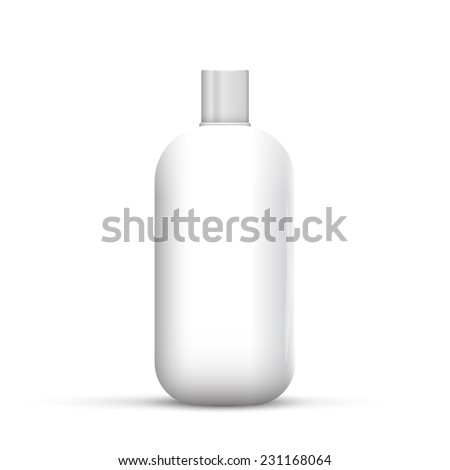 Cosmetic Or Hygiene Grayscale White Gray Chrome Lid Plastic Bottle Of Gel, Liquid Soap, Lotion, Cream, Shampoo. Ready For Your Design. Illustration Isolated On White Background. - stock photo