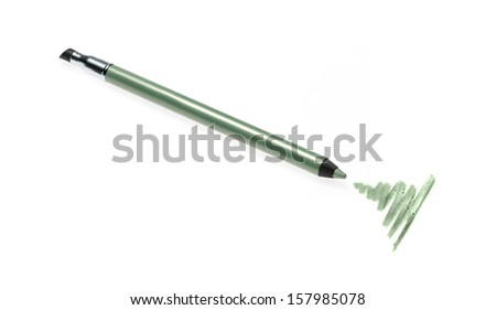 Cosmetic pencil and stroke isolated on white