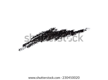 Cosmetic pencil and stroke isolated on white - stock photo