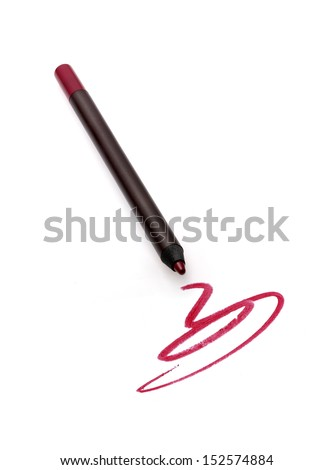 Cosmetic pencils and strokes isolated on white