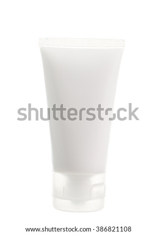 Cosmetic plastic tube isolated on white background. - stock photo