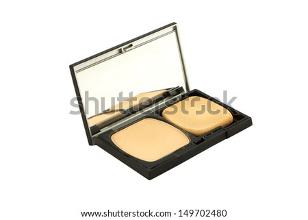 Cosmetic Powder Compact isolate on white with cliping mask. - stock photo
