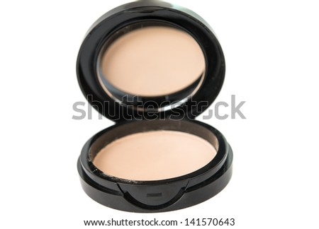 cosmetic powder on the white background