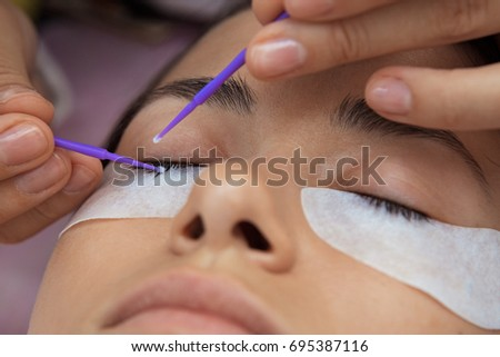 Cosmetic Procedure Care Eyelashes Extension Coloring Stock Photo ...