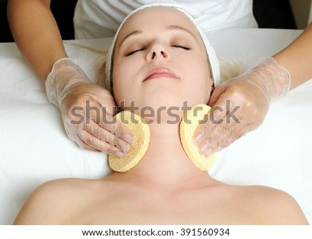 cosmetic procedure in the beauty salon - stock photo